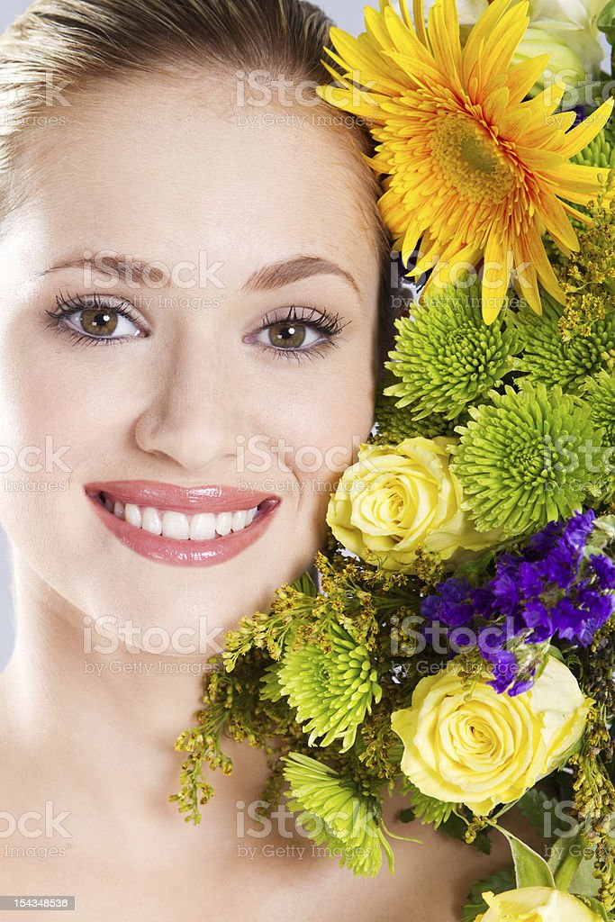 woman and flowers royalty-free stock photo