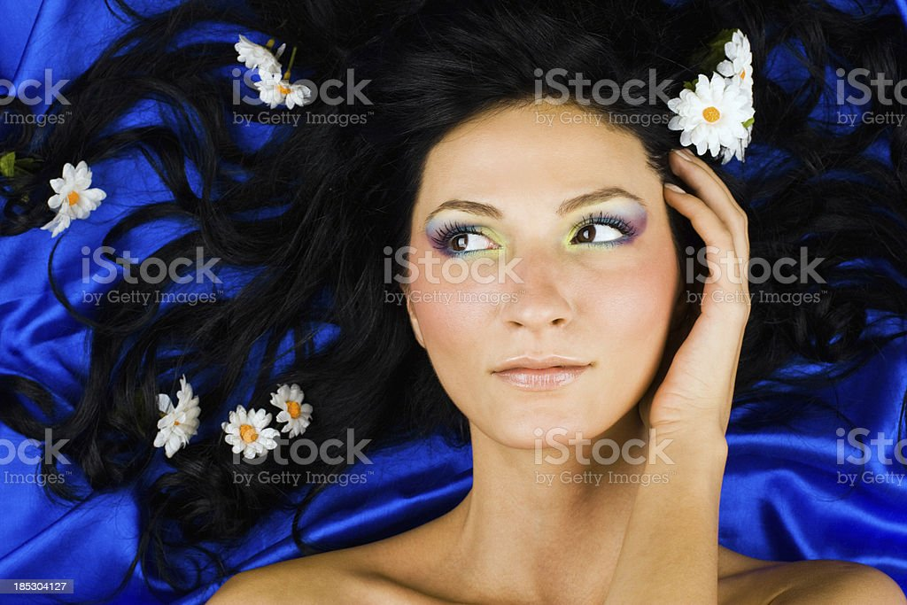 Woman and flowers stock photo