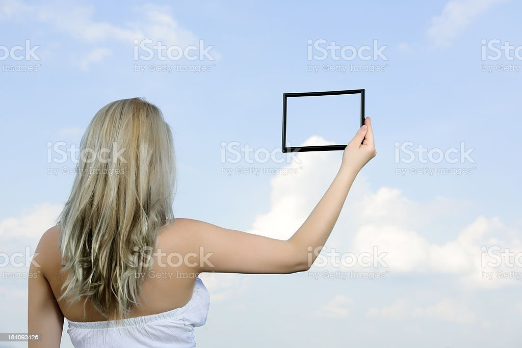 woman and frame stock photo