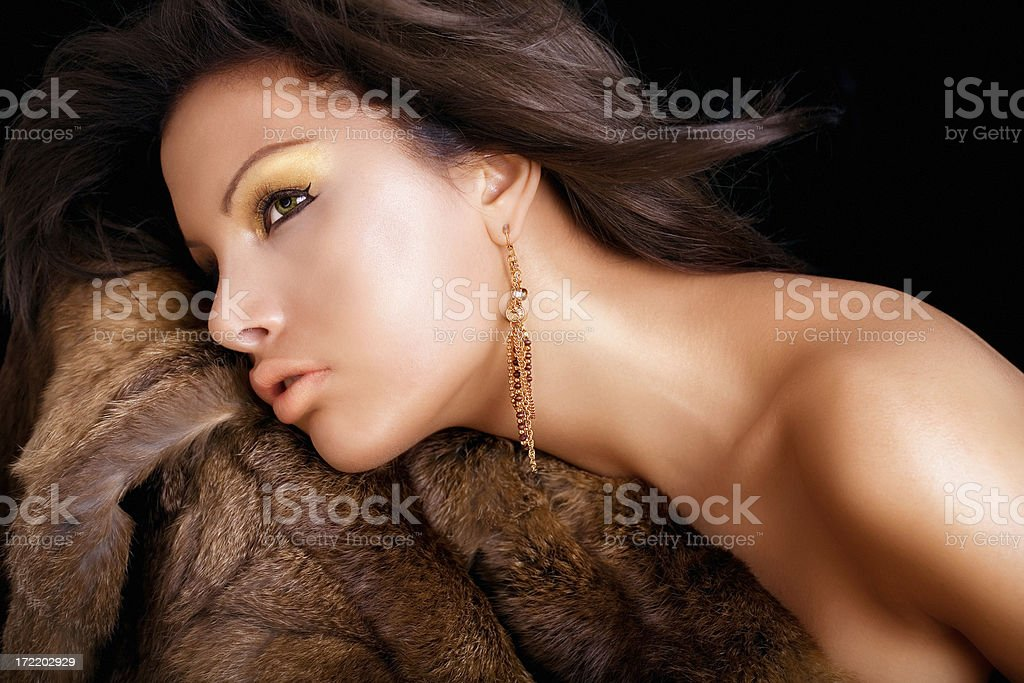 Woman And Fur royalty-free stock photo