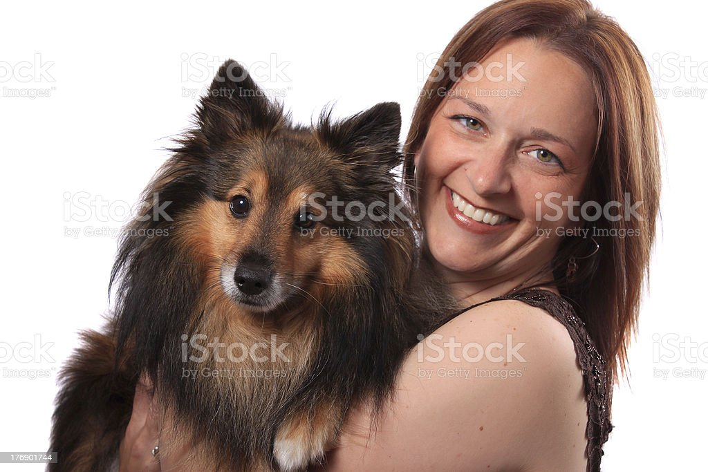 Woman and furry dog stock photo