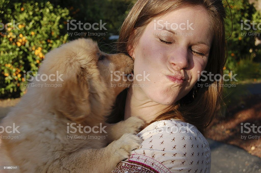 Woman and Golden Puppy 3 royalty-free stock photo