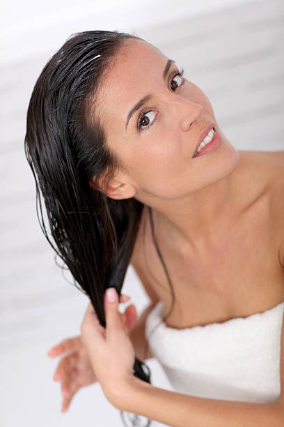 Woman and haircare stock photo