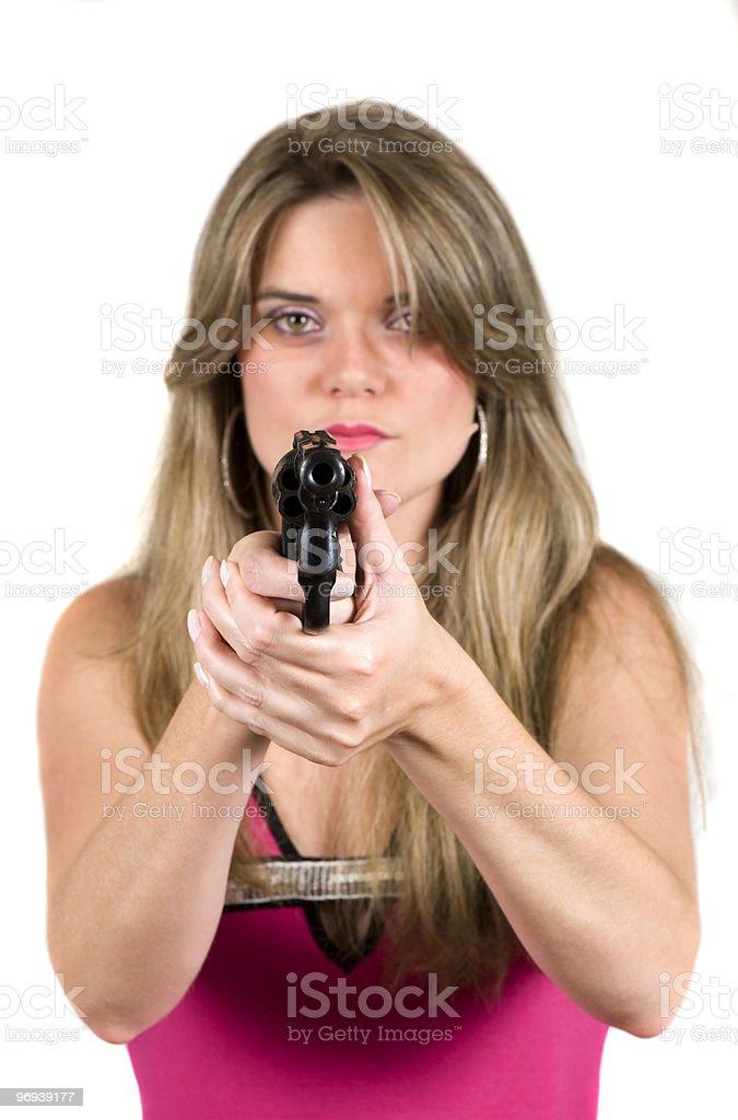 Woman and Handgun royalty-free stock photo