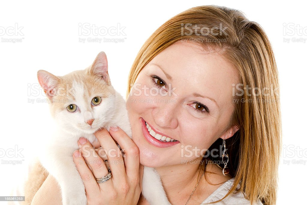 Woman and her cat royalty-free stock photo