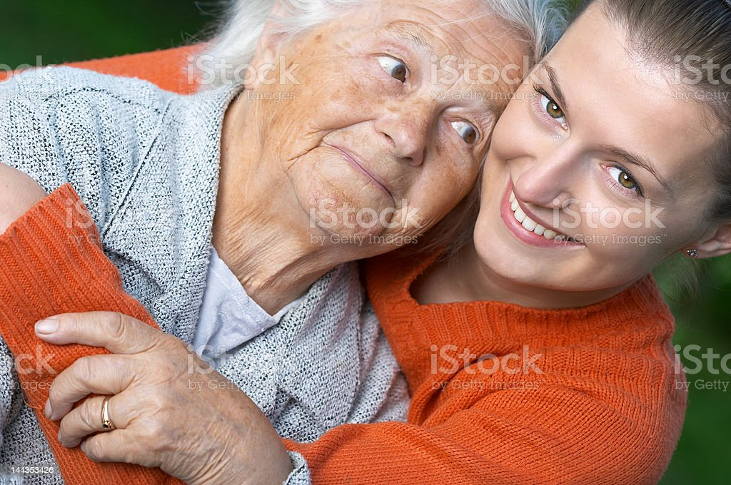 Woman and her granddaughter royalty-free stock photo