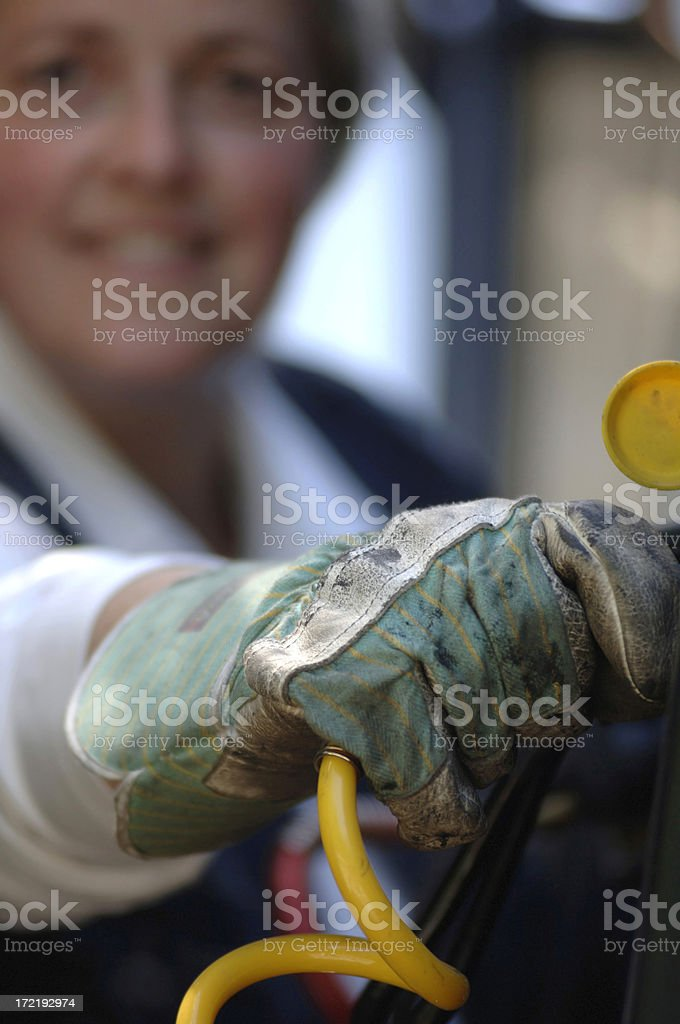 Woman and her truck royalty-free stock photo