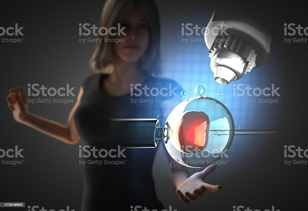 woman and hologram with insemination engineering stock photo