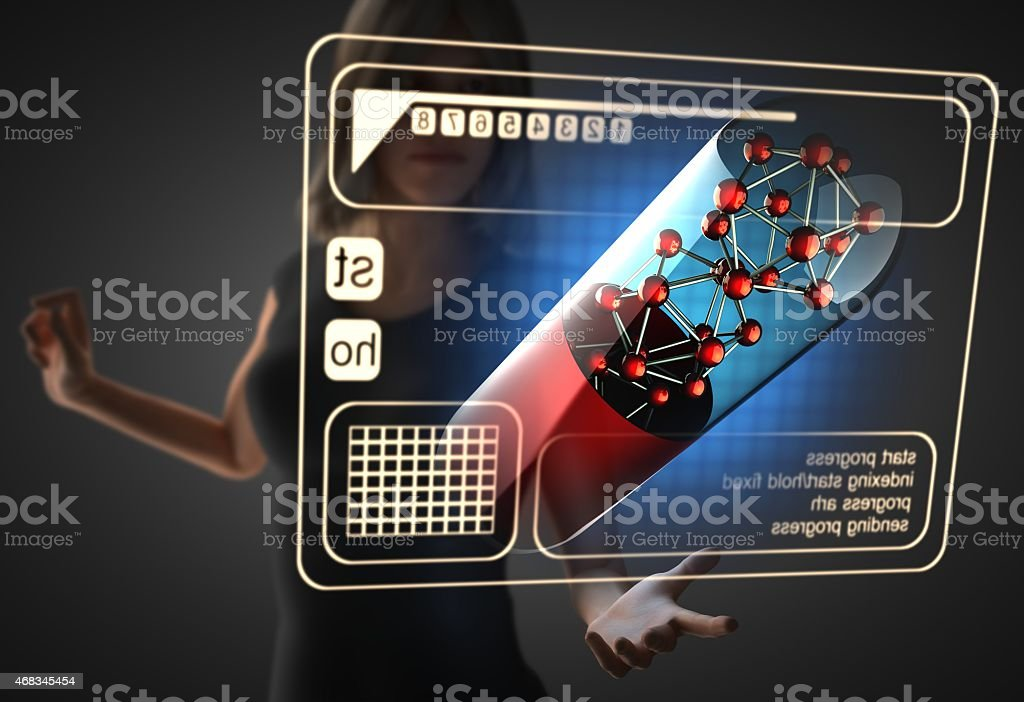 woman and hologram with micro capsule stock photo