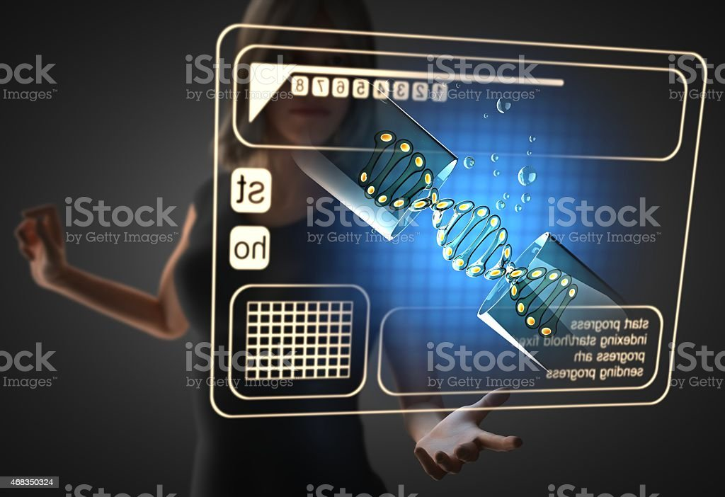 woman and hologram with micro capsule royalty-free stock photo