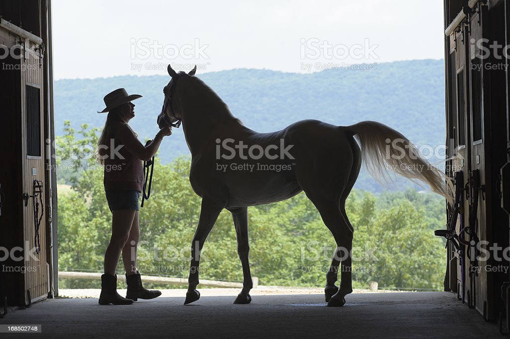 Woman and Horse Silhouette in Open Summer Barn Door royalty-free stock photo