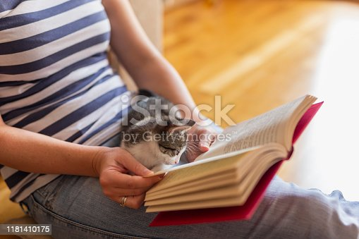 istock Woman and kitten reading a book 1181410175