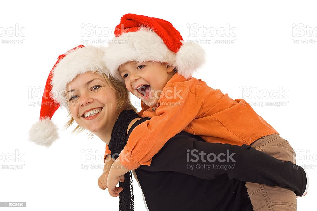 Woman and little boy playing - isolated royalty-free stock photo