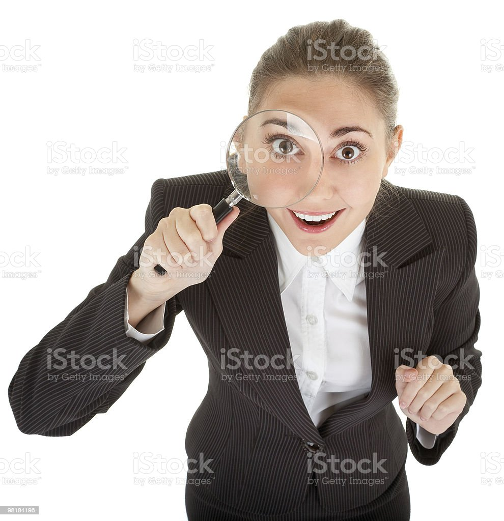 woman and magnifier royalty-free stock photo