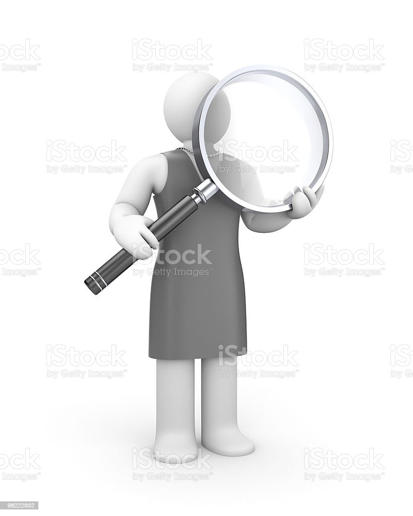 Woman and magnify glass royalty-free stock photo