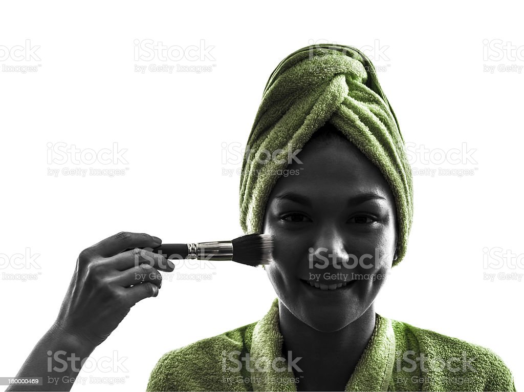 woman and make up brush silhouette royalty-free stock photo