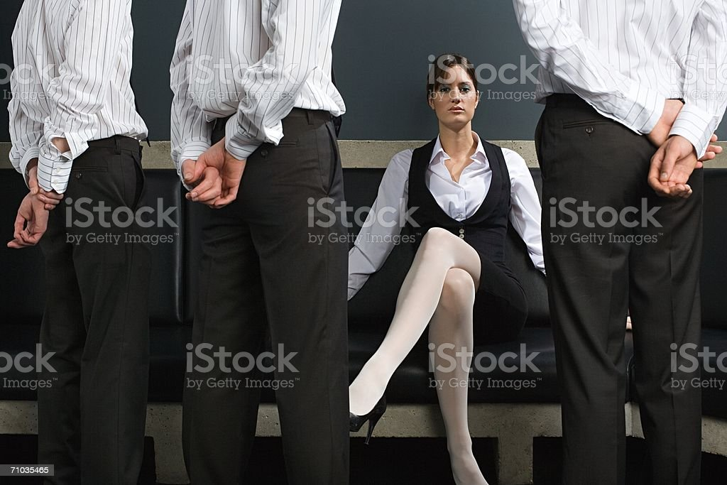 Woman and male employees stock photo