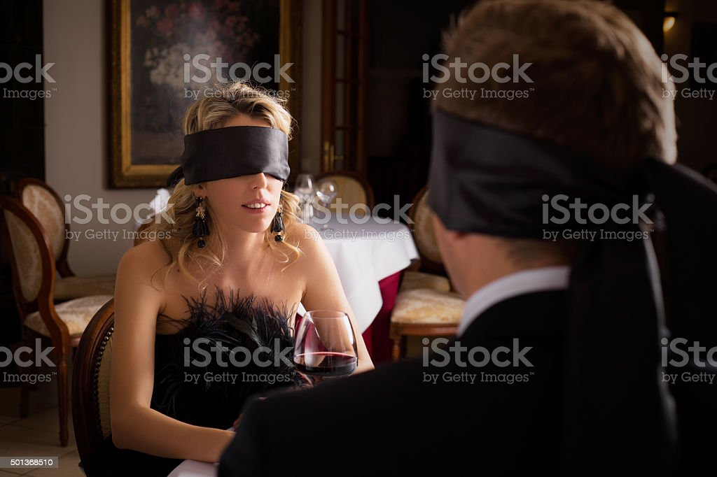 Woman and Man at blind date stock photo