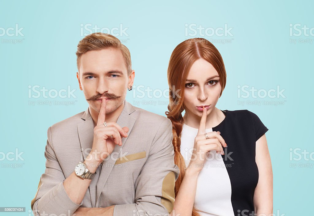 Woman and man, couple keep secret royalty-free stock photo