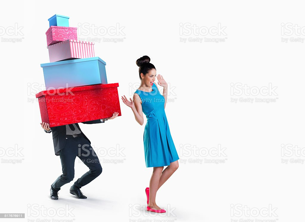 Woman and man going shopping isolated on white background stock photo