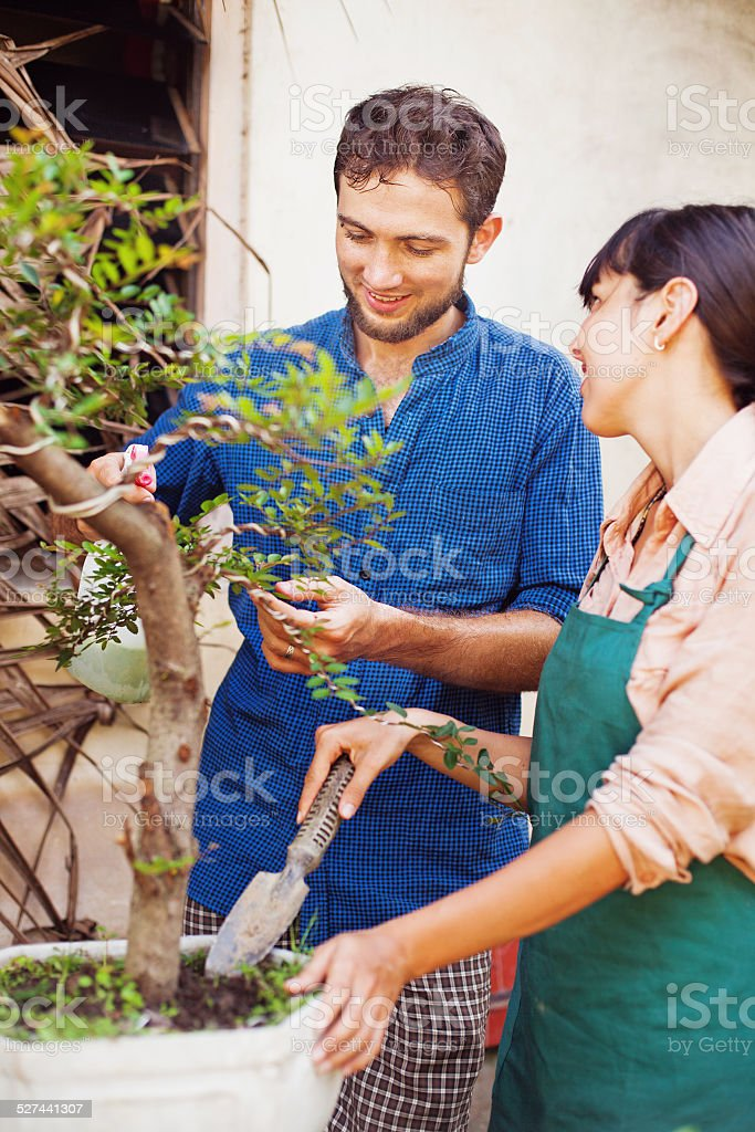 Woman and man grubbing up stock photo