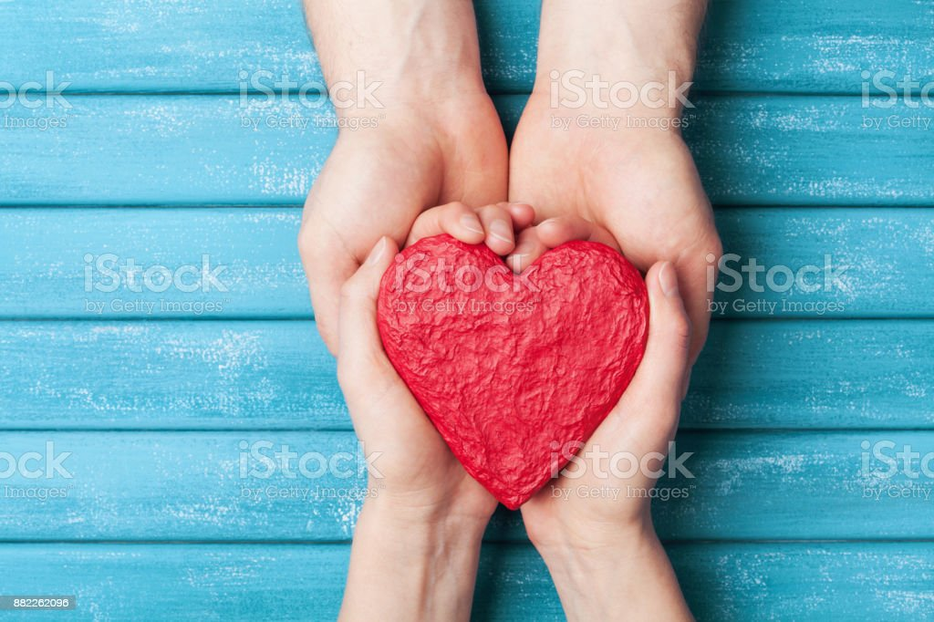 Woman And Man Hands Holding Red Shape Of Heart Saint Valentine Day ...