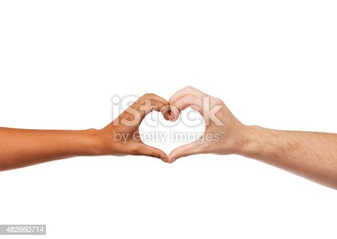 istock woman and man hands showing heart shape 483960714