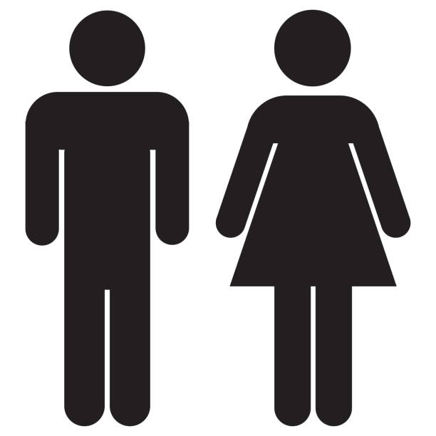 woman and man icons - clip art stock photos and pictures