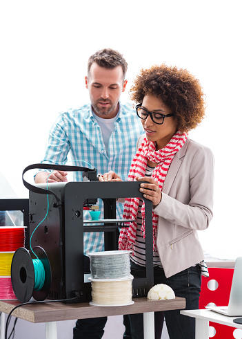 Woman And Man In 3d Printer Office Stock Photo - Download Image Now