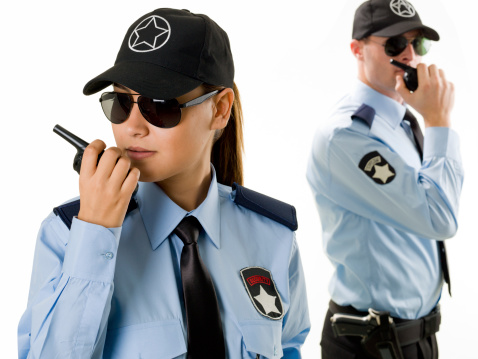 Woman And Man Security Guard Stock Photo - Download Image Now - iStock