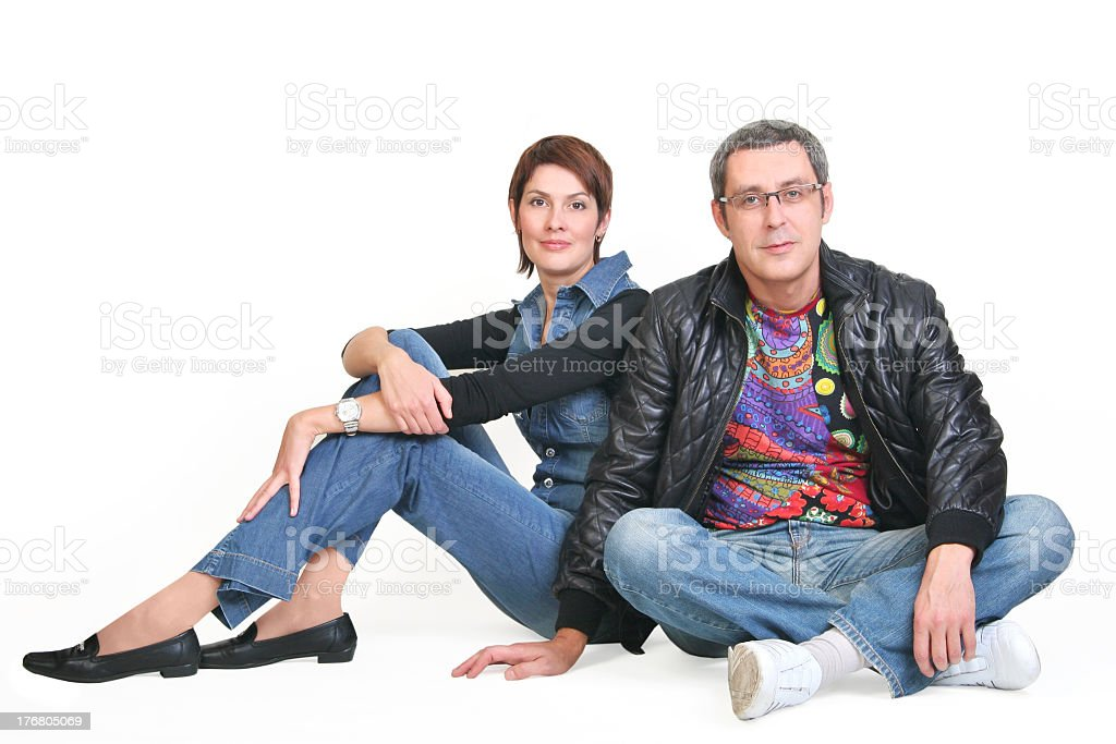 woman and man, sit together stock photo