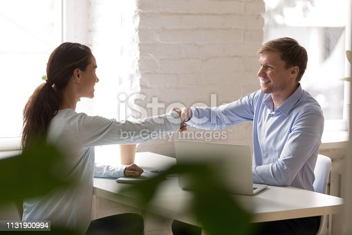 istock Woman and man sitting at desk and shaking hands 1131900994