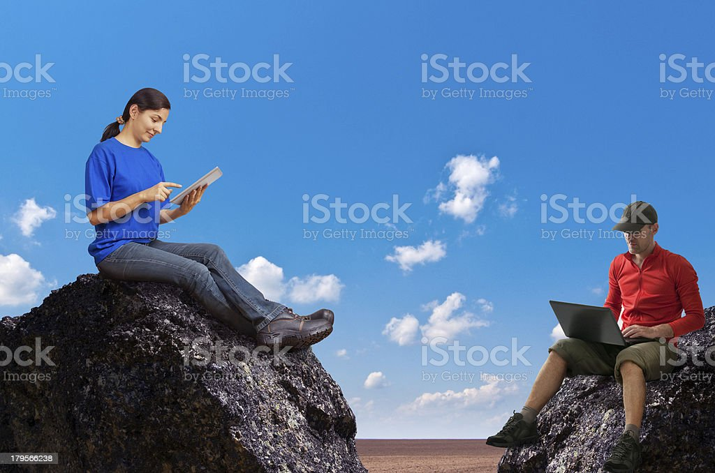 woman and man working outdoors royalty-free stock photo