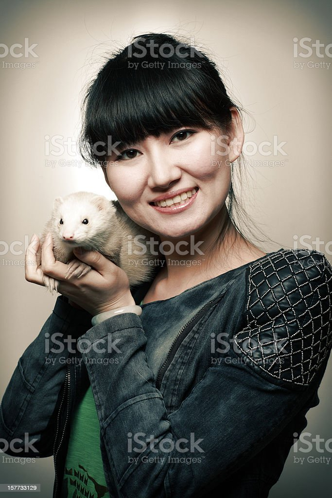 Woman and Mink stock photo