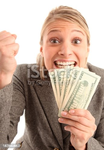 This young beautiful woman is very excited about having money in her hands...pleases see more of this same model in my portfolio...Thank you!