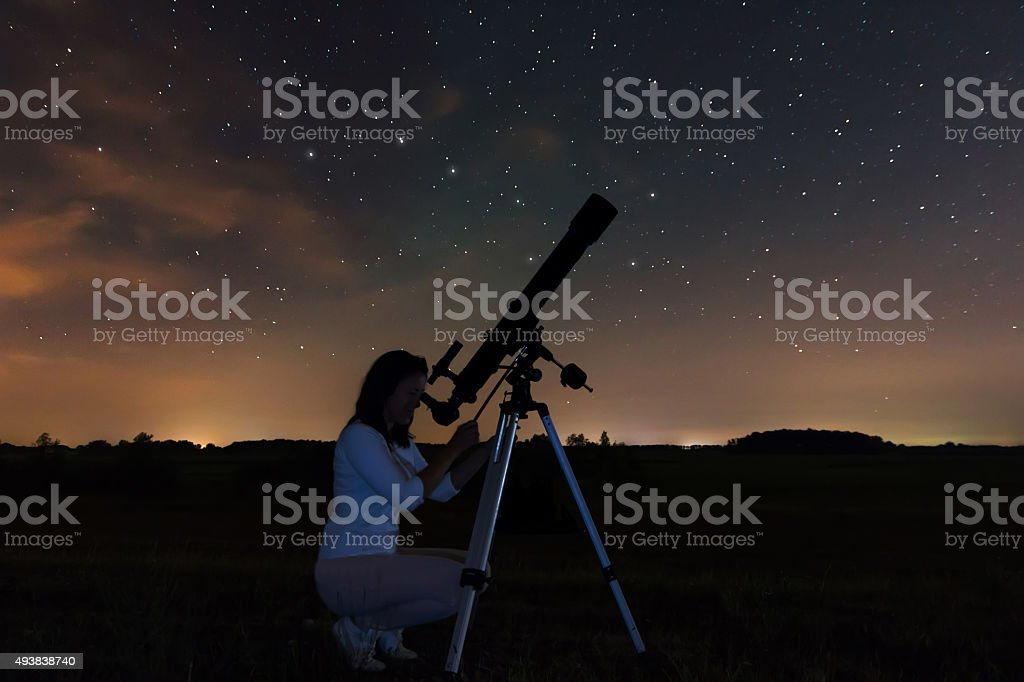 Woman and night sky. Watching the stars Woman looking through a telescope watching the stars. Night sky, constellations, Draco, Ursa Major, Big Dipper, Botes. Woman under night sky. Telescope Stock Photo