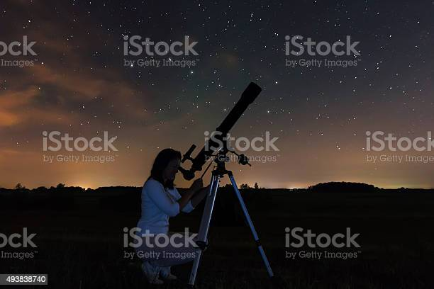Woman And Night Sky Watching The Stars Stock Photo - Download Image Now