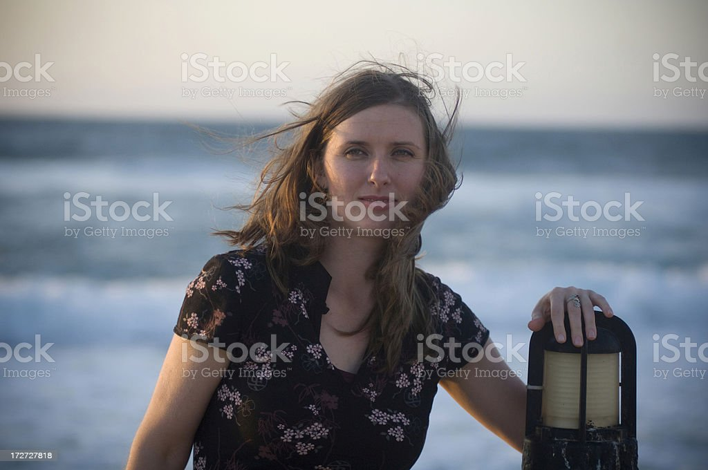 Woman and ocean stock photo