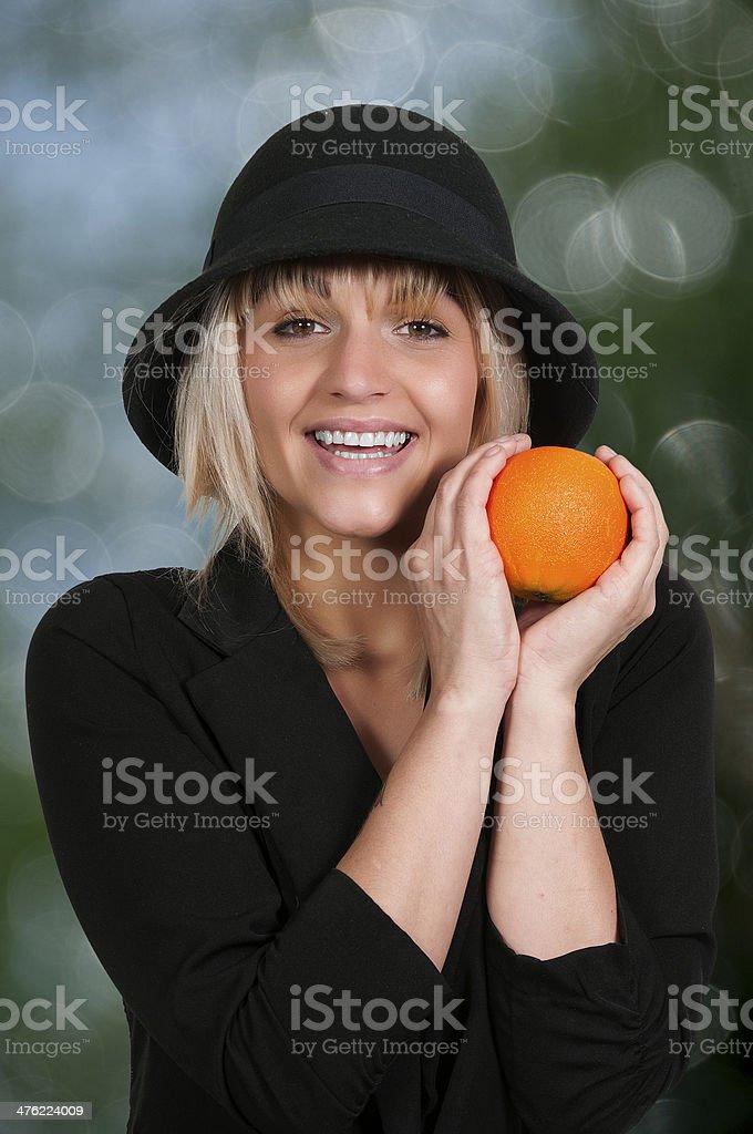 Woman and Orange royalty-free stock photo