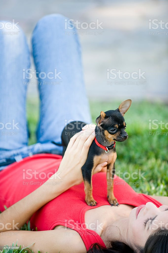woman and pet royalty-free stock photo