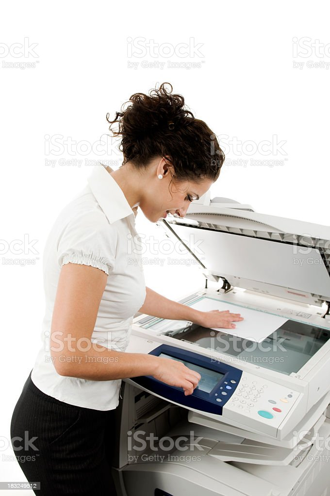 Woman and printer, isolated on white stock photo