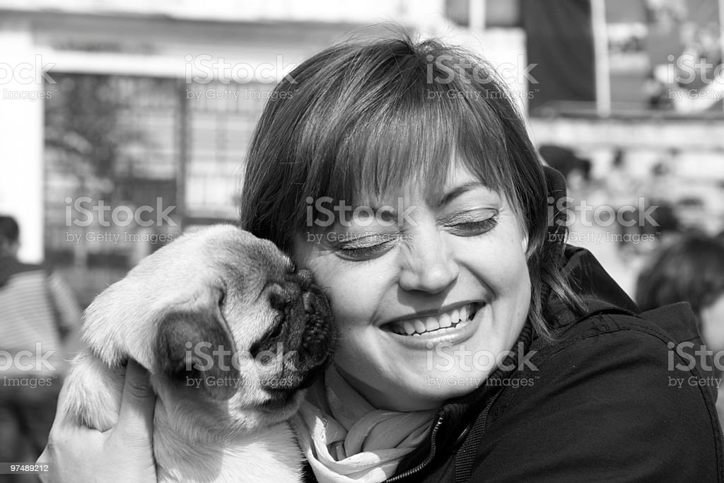 woman and pug royalty-free stock photo