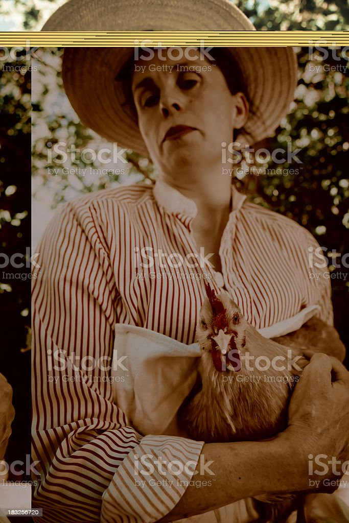 Woman And Red Hen royalty-free stock photo