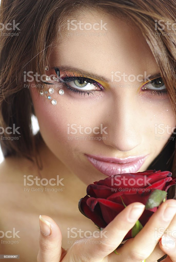 woman and rose royalty-free stock photo
