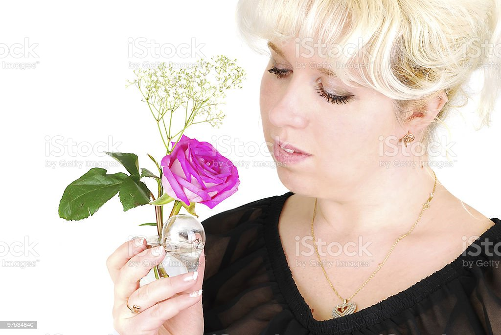 Woman and rose. royalty-free stock photo
