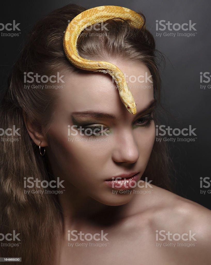 woman and snake royalty-free stock photo