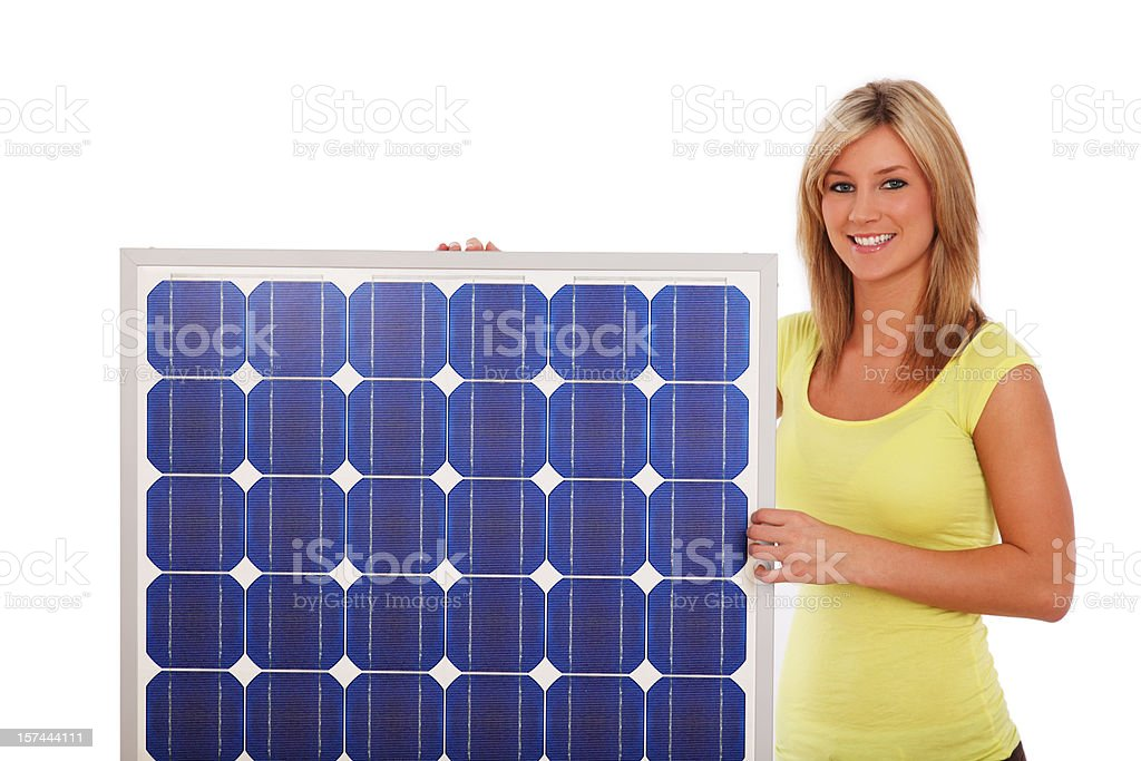 Woman And Solar Panel royalty-free stock photo