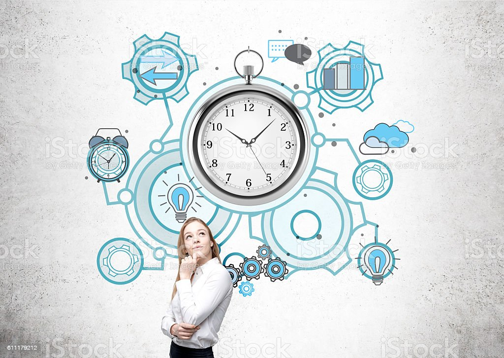 Woman and stopwatch sketch stock photo