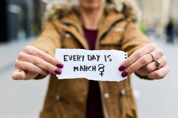 woman and text every day is march 8 stock photo