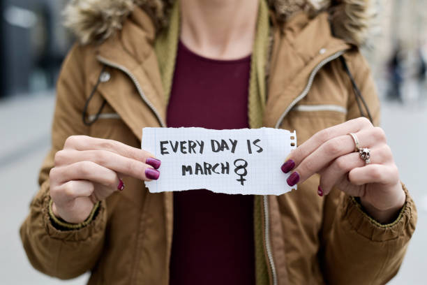 woman and text every day is march 8 - womens day stock photos and pictures